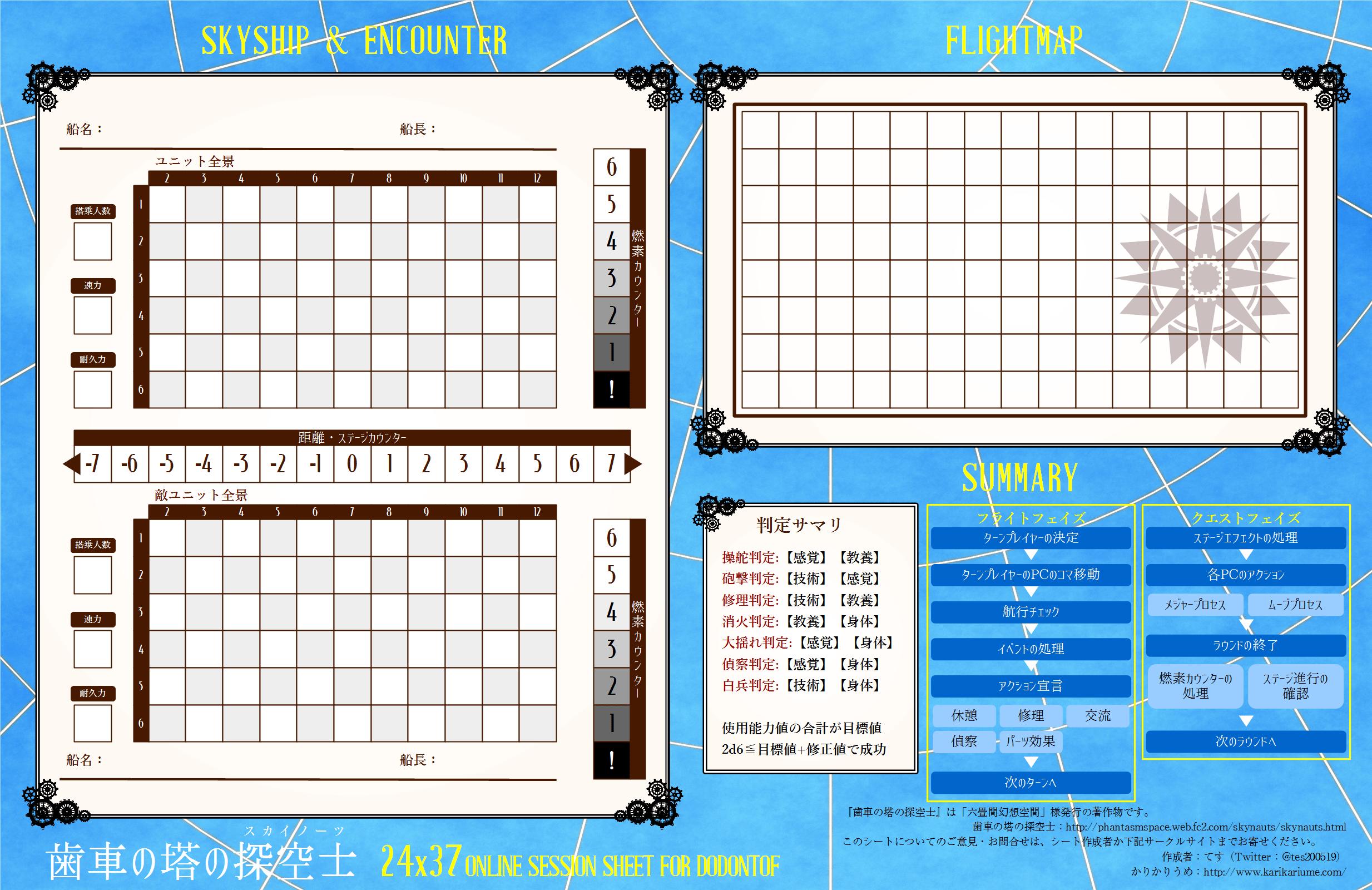 歯車の塔の探空士オンラインセッションマップシート